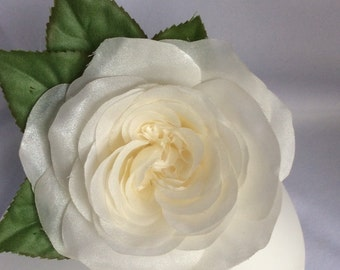 White silk Cabbage Rose flower brooch - in decorated gift box..