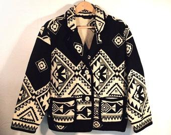 Native American Indian Design Cotton Jacket by Asazo, Black & White, Women's size S