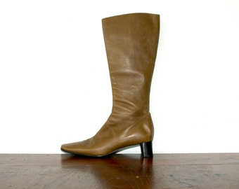 Prada Boots / Brown Knee High Boots / Minimalist Boots Size 7.5 / 8