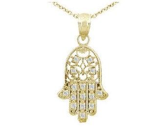 14K Gold and Diamond Hamsa Hand Necklace, Fatima, Dainty Chain and Charm, Diamond, Gift, Hand of Fatima, Filigree