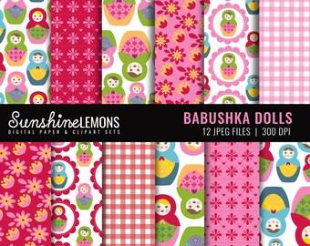 Babushka Dolls Shabby Chic Digital Scrapbooking Paper (12) - COMMERCIAL USE Read Terms Below