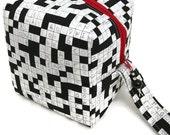 KNITTING PROJECT BAG - Sock Cube, Zippered Box Bag, Crosswords, Zippered Project Bag, Handmade, Knitting Bag, Crochet, Sock Bag, Hat Bag