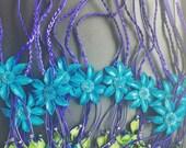 Mermaid blue leather headbands