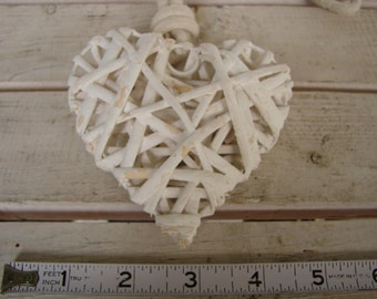 shabby chic distressed white, twig vine heart curtain tie-back French vintage painted wood heart