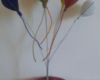 TABLE DECORATION - Beaded Balloon Table Decor. African beauty for the celebration table center-piece. Happy festive decor for any occasion