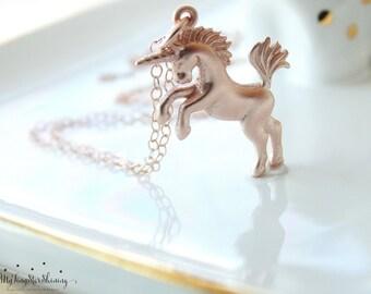 Unicorn Necklace ROSE GOLD Unicorn Jewelry Magical Unicorns Fairytale Rose Gold Necklace Horse Necklace