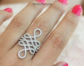 The Original Infinity Knot Ring, 0.85 CT Diamond Ring, 14K White Gold Ring, Unique Rings, Gold Rings for Women, Infinity Ring.