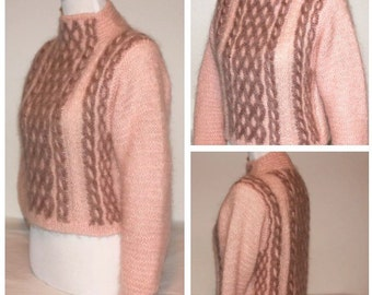 Vintage 1980's Cropped Mohair Sweater Linda Allard for Ellen Tracy Size Small Excellent Condition