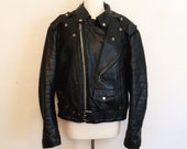 Black Leather Biker Jacket // Yamaha Motorcycle // Women's Large/Men's Medium
