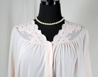 Vintage Shadowline Pale Pink Robe Peignoir Medium