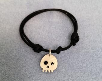 Skull Charm on a Sliding Knot Bracelet