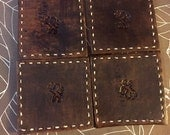 Leather Coasters Stamped, Stitched