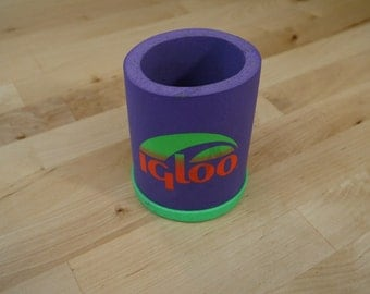 Vintage Neon Purple and Green Igloo Can Holder and Insulator