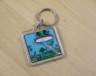 Vintage Cypress Gardens Island in the Sky Florida Clear Plastic Square Key Chain