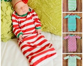 Christmas Infant Gown Pajamas Red Green Baby Christmas Pajamas Girls Stripe Christmas Baby Newborn Infant Gown Monogrammed Name Red Striped
