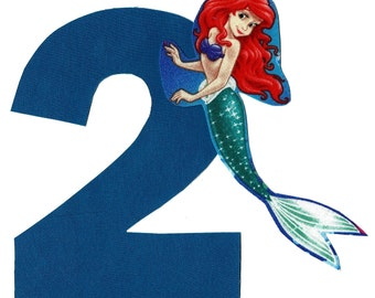 DIY Ariel Little Mermaid applique and pick any number iron on applique - birthday number