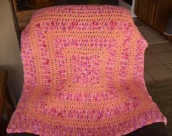 Blanket,Afghan,Crib,Car Seat,Stroller,Afghan,Baby,Girl,Girls,Infant,Photo Prop,Shower,Pink,Peach,Crocheted,Toddlers