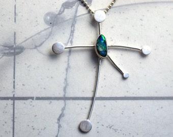 Southern Cross Constellation Pendant Australian Boulder Opal Sterling Silver