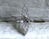 Stunning Edwardian Platinum Diamond Navette Ring - 1.60ct.