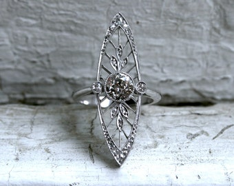 Stunning Edwardian Platinum Diamond Navette Ring - 1.60ct.