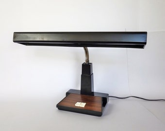 Gooseneck Industrial Desk Lamp, Mid Century Metal Task Light, Industrial Decor, Wood Grain, Desk Work Shop or Craft Room