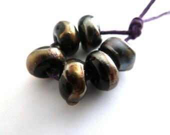 black and silver shard handmade lampwork glass beads, UK