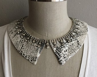 Sparkle Python Pointed Collar Necklace with Bow Front or Back Closure