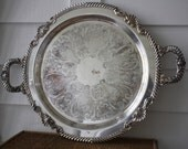Vintage silver tray with handles,  large silver platter