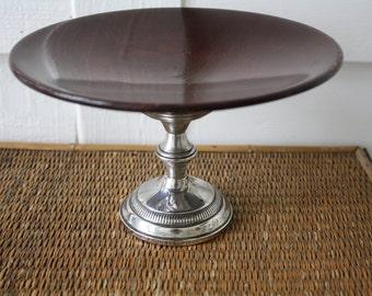 Vintage pedestal bowl, silver and wood pedestal dish, sterling silver