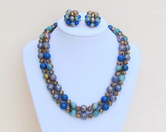 Vintage blue and gold bead necklace and earrings, 2 strand necklace and clip earrings, c.1960 demi parure