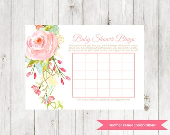 Floral Shower Bingo Game | Printable Baby Sprinkle Game | Baby Shower Party Game