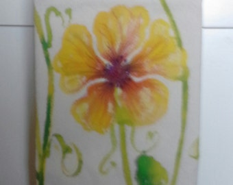 Tea Towel. Hand painted. Yellow Poppy.
