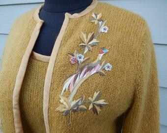 Vintage Mohair Suit - 1960s Mohair Dress & Jacket - Mid Century 2 piece suit - Embroidered Gold Suit - Mad Men Suit