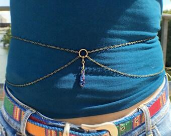 titanium quartz belly chain, body chain, crystal body chain, quartz body chain, waist chain, crystal chain, quartz waist chain