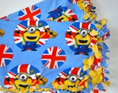 Minions Blanket, Minion Fleece tie blanket,  Despicable Me fleece tie blanket with Minions,  Minions baby blanket, Minion toddler blanket
