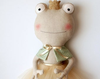 MADE TO ORDER - The frog princess. Ballerina doll. Stuffed animal with a tutu. Rag dolls. Gift ideas for girls. Nursery decoration.