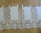 Pair of filet lace curtains with embroidered panels - French country home decor