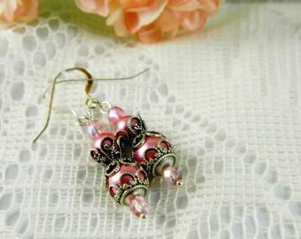 Earrings, Pink Earrings, Pink Pearl Earrings, Pink Pearl, Pink Swarovski, Beaded, Silver, Filigree, Wedding, Bridal, Bridesmaid, Romantic