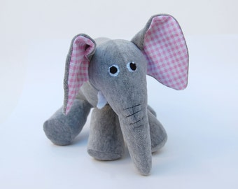 Red plush elephant inspired by Max and Ruby's red rubber elephant Classic grey