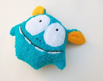 Stuff monster, baby bath, fun sponge, terrycloth, washcloth, monster, Baby Bath Toy, Terrycloth, Natural Toy, Baby Shower Gift