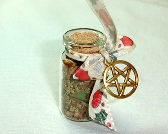 Mini Wiccan Herbal Spell Bottle for Healing or Yule