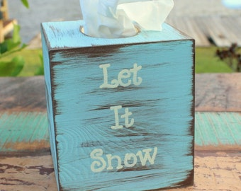 Christmas Kleenex Tissue Box Rustic Distressed Wood (Your Choice of Color and Message)