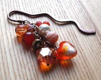 Unique Bookmark with Orange Beads - Love Heart - Glass Bead Cluster - Fashion Accessories - For Her - Vivid Orange Crystal