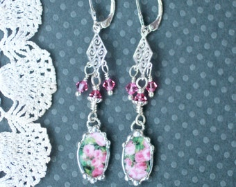 Earrings, Broken China Jewelry, Broken China Earrings, Pink Rose Chintz, Sterling Sliver, Soldered Jewelry