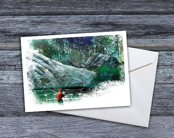 Fly Fishing - Below the Falls Greeting Card