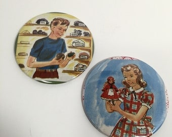 """Two Button Magnets from Vintage Children's Books, 3"""" diameter"""