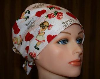 Tie Back Surgical Scrub Hat/Chemo Hat--Puppy Love