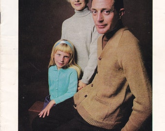 Patons Knitting Pattern No 826 for Family in Scotch Mist - Vintage 1970s, Jumpers, Sweaters, Cardigans, Jackets.
