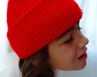 Vintage Red Knit Hat Child Boy Girl Winter Cap