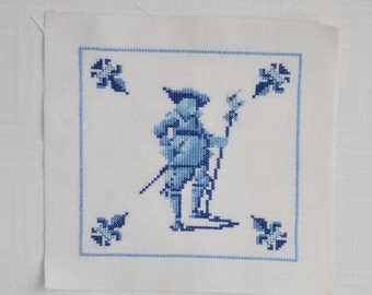 Finished / Completed Counted Cross Stitch - Dutch Delft Blue tile crossstitch counted cross stitch